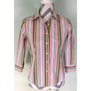 J. CREW Pink White Striped Button Front Shirt